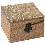 Eine Holzschatulle für kleine Gegenstände, Mangobaumholz Aufbewahrungsbox Holzbox Holzkiste mit Deckel für Aufbewahrung Dekobox 10x10x7 cm