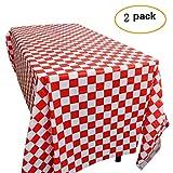 Yooyee Rot und Weiß Kunststoff karierten Tischdecken, Einweg-Tischdecken - Picknick Party Dekoration, 2 Pack