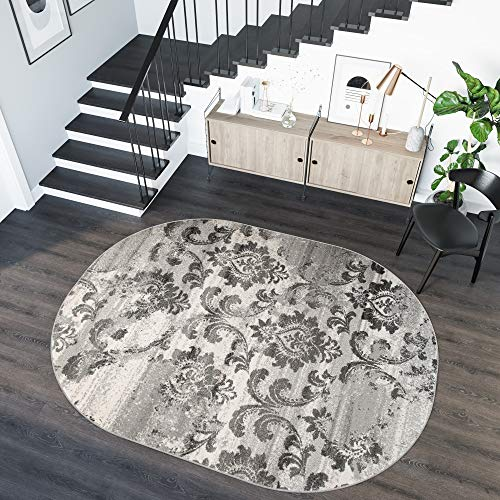 Tapiso Sari Teppich Oval Kurzflor Grau Taupe Meliert Modern Vintage Blumen Floral Design Wohnzimmer Schlafzimmer ÖKOTEX 160 x 220 cm -