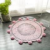 Here&There Baby Teppich Matte Kinderteppich Kinderzimmer Schlafzimmer Wohnzimmer Boden Babyzimmer Mädchen Dekoration Spielteppich Handball Ballmatte (80 x 80 cm, pink)