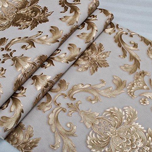 Kaluori 32,8 Ft x1.738ft Luxus Metallic Gold und Creme Strukturierte Damast Tapete Home Raum Wand Papier Rollen für Wohnzimmer, Schlafzimmer, Bars Creme-gold