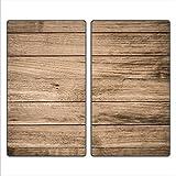 decorwelt | Herdabdeckplatten 2x30x52 cm Ceranfeldabdeckung 2-Teilig Universal Elektroherd Induktion für Kochplatten Herdschutz Deko Schneidebrett Sicherheitsglas Spritzschutz Glas Holz