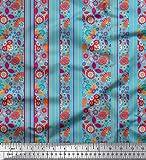 Soimoi Blau Viskose Chiffon Stoff Streifen, Blätter &