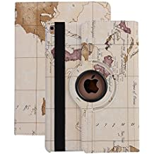 APPLE iPad Smart Case, elec Fan® Apple iPad Smart Case Sleep/Wake Función 360 grados. Funda de piel sintética Soporte Carcasa Protector de pantalla, Map-weiß, iPad 2 3 4
