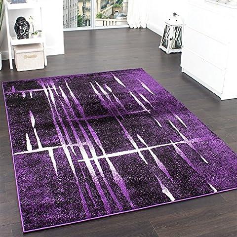 Designer Teppich Modern Trendiger Kurzflor Teppich in Lila Schwarz Creme Meliert, Grösse:120x170 cm