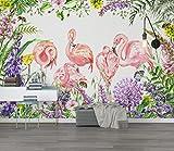 Yosot Custom Malerei 3D Wallpape, 3D Tapete Nordischen Tropischen Pflanzen Flamingo Hintergrund Tapetenwand-200cmx140cm