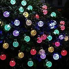 Uvistar 6m 30 LED en forma de lagrima/bola de cristal con distintos colores al aire libre solar luz de la secuencia,solar accionada de la decoración de Navidad de las luces destellan y impermeable para jardín,Navidad,Patio,hogar,árbol de Navidad,la f