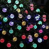 Uvistar 6m 30 LED en forma de lagrima/bola de cristal con distintos colores al aire libre solar luz de la secuencia,solar accionada de la decoración de Navidad de las luces destellan y impermeable para jardín,Navidad,Patio,hogar,árbol de Navidad,la fiesta,Cumpleaños Etc.(Varios colores)