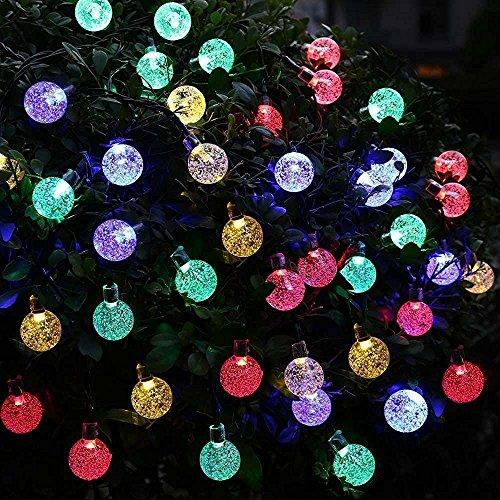 Uvistar 6m 30 LED en forma de lagrima/bola de cristal con distintos colores al aire libre solar luz de la secuencia,solar accionada de la decoración de Navidad de las luces destellan y impermeable para jardín,Navidad,Patio,hogar,árbol de Navidad,la fiesta,Cumpleaños Etc.(Varios