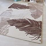 Teppich Kurzflor Designer Teppich Beige-Creme und Grau-Silber Modern mit Federmuster Wohnzimmer Preiswert Gemütlich (200 x 290 cm, Beige)