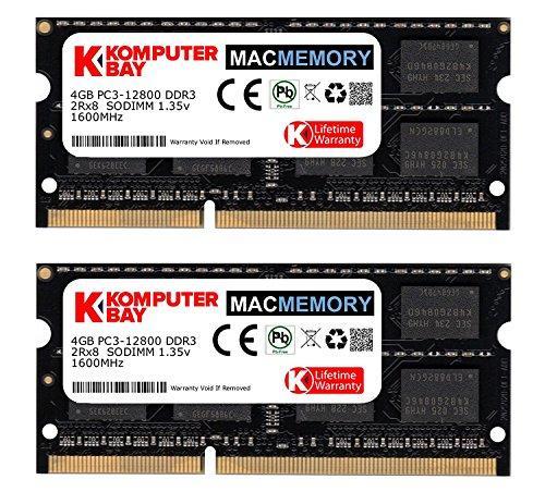 Komputerbay MACMEMORY 8GB (2x 4GB) DDR3 PC3-12800 1600MHz SODIMM 204-Pin Mémoire d'ordinateur portable pour Apple Mac