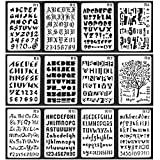 Nombre Pochoirs, plastique lettres de l'alphabet Pochoir Lettrage 12pcs 26x 17.5cm avec 10pcs peint à la main stylos pour peinture DIY Dessin Planner ordinateur portable Agenda Scrapbook Graffiti carte