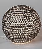 Formano Kugelleuchte Mosaik Glas Perle mit Beleuchtung Dekoration für die Wohnung Silber (20 cm)