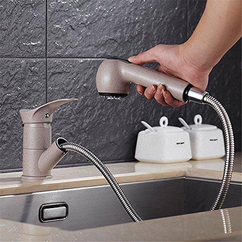 Hlluya Wasserhahn für Küche Wasserhahn Granit Schale Waschbecken Kupfer zugänglich Drop-down-heißem und kaltem Wasser Quartz Stone Strahlen Haferflocken Farbe schwarz Waschbecken Armaturen B -