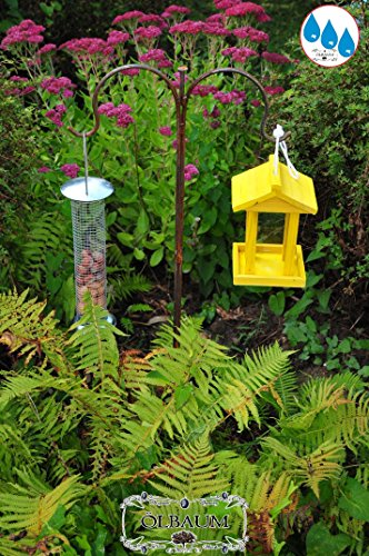 Bird House, Bird Houses, Cedar Wood, Yellow, Feeding Area, /wood House Yellow – solid + Hardy, For Birds, Bird Feed Silo Wood Large 1 litre, With Large 2 way Metal Bracket/double Shepherd Rod With Metal Galvanised Feeder, Yellow Sunshine Lemon Yellow