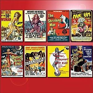 Classic B Movie Film Poster Kühlschrankmagnete – Set von 8 großen Kühlschrankmagnete No.1