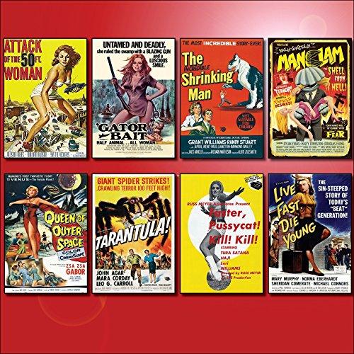 Classic B Movie Film Poster Kühlschrankmagnete - Set von 8 großen Kühlschrankmagnete No.1