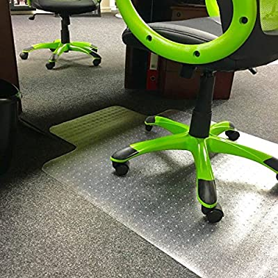 Clear Office Chair Desk T-Shape Carpet Protector Mat 90x120cm PVC Clear with Grip