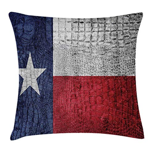 Western Throw Pillow Cushion Cover, Texas State Flag Painted on Crocodile Snake Skin Patriotic Emblem Image, Decorative Square Accent Pillow Case, 18 X 18 Inches, Ruby Dark Blue White