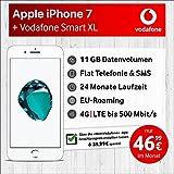 Apple iPhone 7 (Silber) mit 32 GB internem Speicher, Vodafone Smart XL inkl. 11GB Highspeed Volumen mit Max 500 Mbits, inkl. Telefonie- und SMS Flat, EU-Roaming, 24 Monate Min. Laufzeit, mtl.