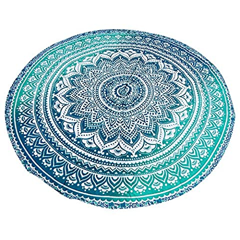 Blue Green Ombre Runde Mandala Beach Throw Roundie Yoga Mat Tisch Tuch Hippie Hippie Boho Zigeuner Strand Handtuch Wand hängen