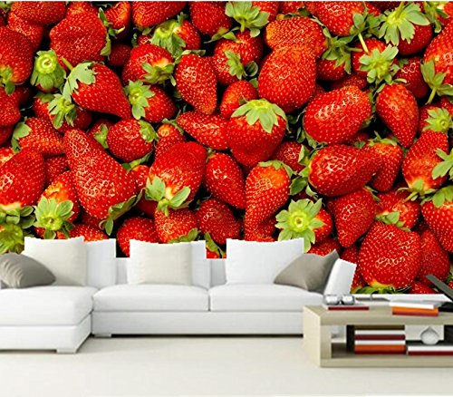 WH-PORP Custom 3D Murals, Fruit Berry Strawberry Closeup Food tapetes,Restaurant Kitchen Living Room-450cmX300cm
