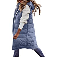 Daunenweste Damen Lang Winterjacke Daunenjacke Warm Weste Jacke mit Kapuze Steppjacke Wintermantel Casual Daunenmantel…