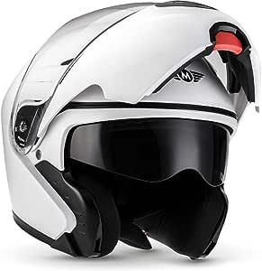 Moto Helmets F19 Matt White Motorrad Helm Klapp Helm Modular Helm Flip Up Integral Helm Motorrad Helm Roller Helm Sport Ece 22 05 Sonnenvisier Schnellverschluss Tasche Xl 61 62cm Auto