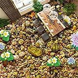Mddrr Hd Schwimmende Blume Wasser Stein Tapete Aufkleber Wohnzimmer Badezimmer Pvc Selbstklebende Wasserdichte 3D Bodenfliesen Papel Wandbild 3D- Hd-Druck - Moderne Dekoration-400X280Cm