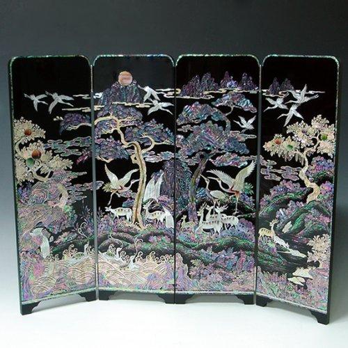 Biombo de Madreperla Diseño Decorativo Arte Árbol, Grulla, Emblemas de Larga Vida, Mampara Decorativa Placa Asia Oriental Decoración Doméstica