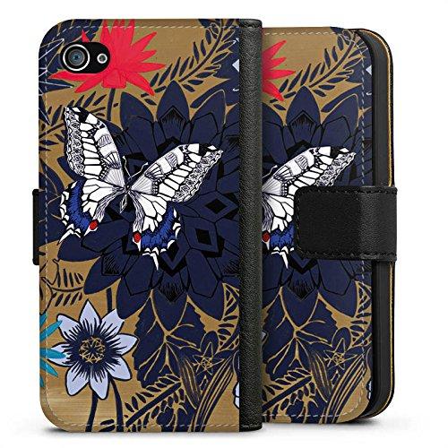 Apple iPhone X Silikon Hülle Case Schutzhülle Schmetterling Blumen Pflanzen Sideflip Tasche schwarz