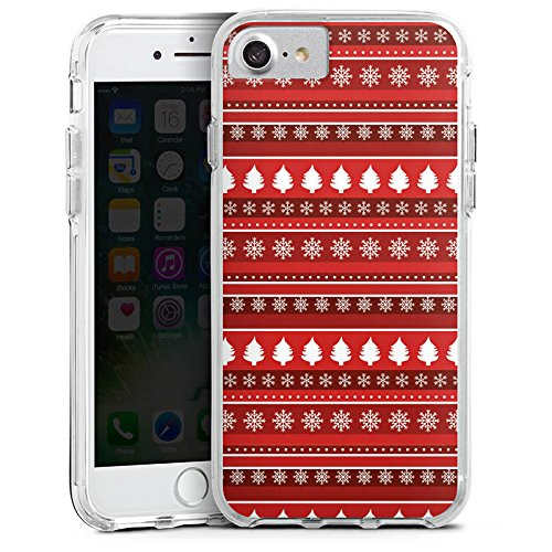 Apple iPhone X Bumper Hülle Bumper Case Glitzer Hülle Baeume Christmas Weihnachten Bumper Case transparent