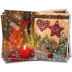 3pieza mismo Tarjetas de Navidad, tarjetas de felicitación, Navidad–estilo rústico con vela en color rojo y madera; con KUVERT (nº 1)