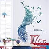Veer Muursticker voor Woonkamer, Muursticker als Wanddecoratie voor Slaapkamer Kinderkamer 124cm × 72cm Muursticker   Deco Mu