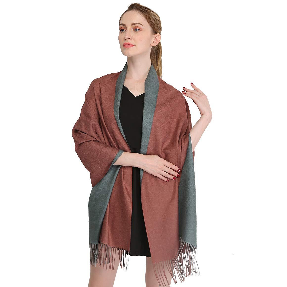 Longwu Cashmere Wrap Shole Chal para Mujer Invierno Extra Grande (79″X 28″) Hombres Pañuelo de Pashmina Sólido de Lana de Cordero