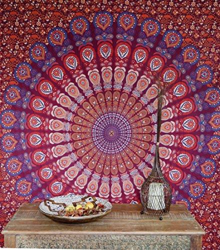 Guru-Shop Indisches Mandala Tuch, Wandtuch, Tagesdecke Mandala Druck - Rot/lila/orange, Baumwolle, 210x240 cm, Bettüberwurf, Sofa Überwurf