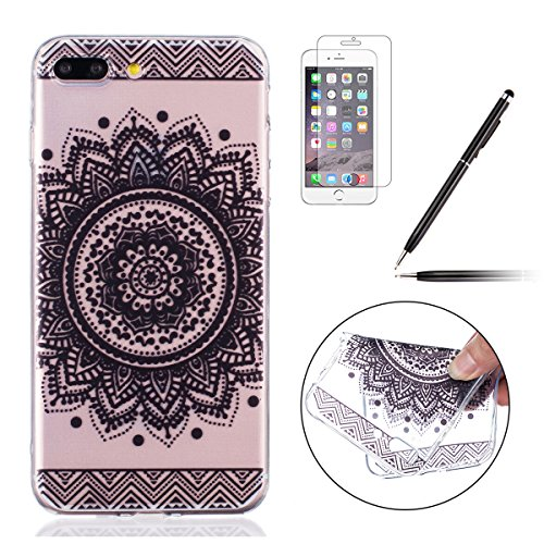 Felfy Coque pour iPhone 7 Plus,iPhone 7 Plus Case Ultra Mince Slim Silicone Transparent Souple Motif Coque Slim Soft Etui Housse Case Gel Protective Cover Totems Elephant Campanula plume Motif de Fleu Motif 09