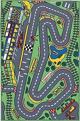 Childrens Playtime Rug 'Racetrack' 100 x 150 cm - Machine Washable - cheap UK light shop.