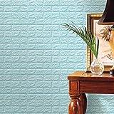 HUI.HUI Autocollants mousse 3D Papier peint bricolage Stickers muraux Décor mur Brique Pierre gaufrée Wall Stickers Style simple Stickers Muraux 60x60x0.8cm (20, Bleu Clair)