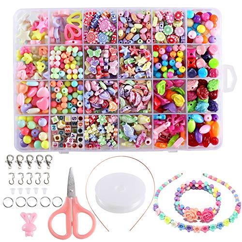 FOGAWA 600pcs Perles Enfants Kit Loisir Creatif Enfant Bijoux Bricolage 24 Types Perle Acrylique DIY pour Bracelet Collier Bijoux de Fabrication Idéal Cadeau pour Enfants Filles