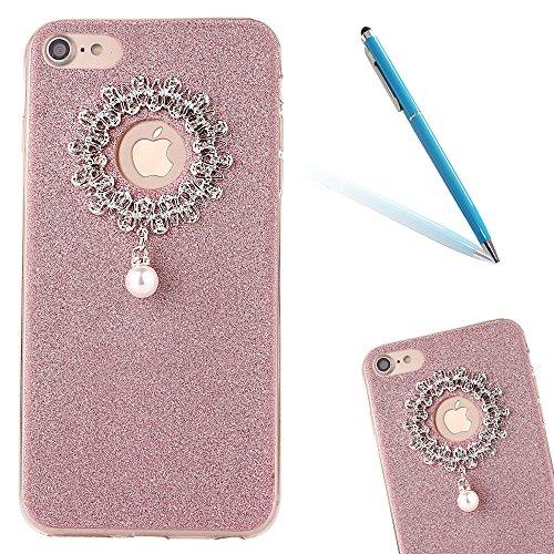 "iPhone 7 Hülle, iPhone 7 Handytasche, CLTPY Ultradünn Weich TPU Schutzfall Shinning Glitzer Kristall Schale Etui für 4.7"" Apple iPhone 7 + 1 x Stift - Rosa Rose Gold 2"