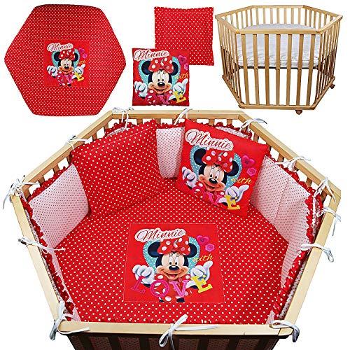 Set Minnie Mouse Spannbettlaken Nestchen 2 X Kuschelkissen Laufgittereinlage Fur 6 Eckiges Laufgitter Matratze 105x120cm Mit Ohne