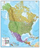 Encapsulated Flat Political Wall Map of North America (Continents)