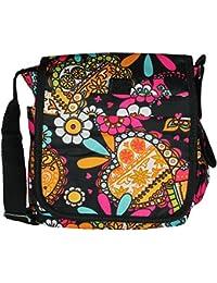 Mevina Damen kleine Umhängetasche bunt Blumen Paisley Überschlag Sommer Schultertasche viele Farben – 22x25x9 cm (B x H x T)