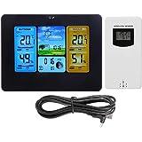 Zerodis Home Drahtlose Wettervorhersage LCD Digital Thermometer Wireless Wetterstation Uhr mit Farbdisplay für…