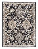 Großer traditioneller Perserteppich - Schwarz Dunkel Beige - Perser Keshan Ziegler Orientalisches Muster - Ferahan Meander Blumen Ornamente - Top Qualität Pflegeleicht Teppich