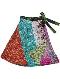 Famacart Women's Silk-Blend Reversible Sari Knee Length Wrap Skirt (Patchwork)