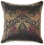 Avarada Kissenhülle, indischer Style, Elefanten-Pfauen-Motiv, 40 x 40cm - schwarz