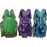 Ladies Kaftan Plus Size Kimono Assorted Beach Cover up Maxi Caftan Dress Wholesale 3Set