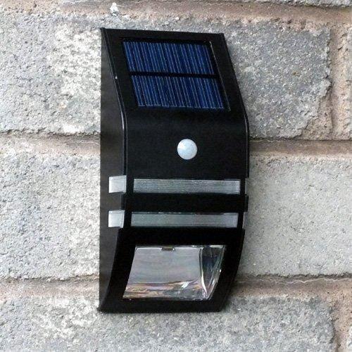 Garden Mile-Sensore di movimento PIR energia solare luci da giardino Ultrahell/recinzione/post/Step luce Nero in acciaio inox esterno giardino nachtlichter, condotto da parete per in sentieri, patio, deck o portico sicurezza
